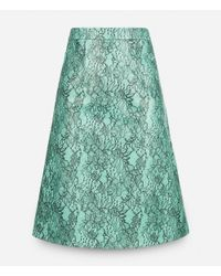 Christopher Kane - Blue A-line Lace Print Leather Skirt - Lyst