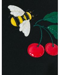 RED Valentino - Black Cherry And Bee Embroidered Dress - Lyst