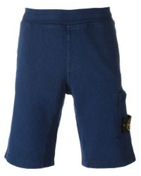 Stone Island - Blue Logo Patch Track Shorts for Men - Lyst