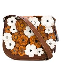 COACH - Brown Floral Applique Saddle Crossbody Bag - Lyst