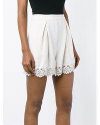 Zimmermann - White Lace Tuck Shorts - Lyst