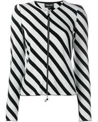 Giorgio Armani   Black Striped Zipped Jacket   Lyst