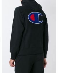 Champion | Black Half Zip Hooded Sweatshirt | Lyst