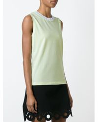 Carven - Yellow Embellished Neck Tank Top - Lyst