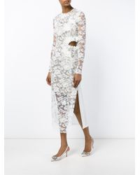Preen By Thornton Bregazzi - White Sheer Floral Long Sleeved Dress - Lyst