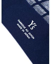 Y's Yohji Yamamoto - Blue Sheer Check Socks - Lyst