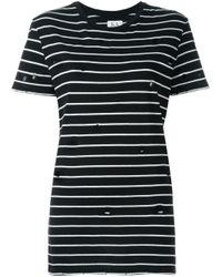 Zoe Karssen - Black Distressed Striped T-shirt - Lyst