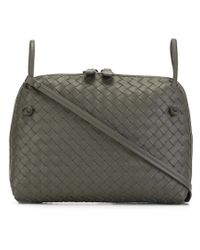Bottega Veneta - Gray Woven Leather Cross-Body Bag - Lyst