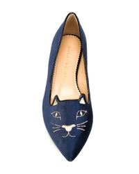 Charlotte Olympia - Black Navy Blue Velvet Kitty Flats - Lyst