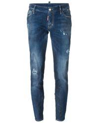DSquared² | Blue 'skinny' Medium Waist Jeans | Lyst