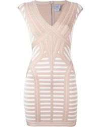 Hervé Léger | Multicolor Striped Fitted Mini Dress | Lyst