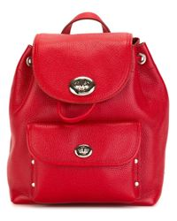 COACH | Red Small Flap Opening Backpack | Lyst