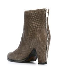 Officine Creative - Gray Doinel Snakeskin-Print Ankle Boots - Lyst