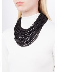 Monies - Black Magnetic Clasp Tube Bead Multi Strand Cord Necklace - Lyst