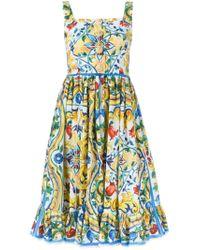 Dolce & Gabbana | Multicolor Floral-print Silk Dress | Lyst