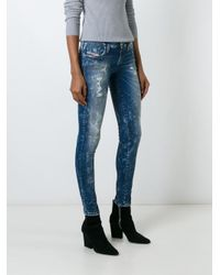 DIESEL - Black Distressed Skinny Jeans - Lyst