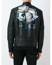 Diesel Black Gold - Black 'lime-print' Waxed Jacket for Men - Lyst