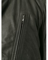 Rick Owens - Gray Zipped Leather Jacket for Men - Lyst