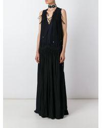 Lanvin - Blue Two-Tone Maxi Dress - Lyst