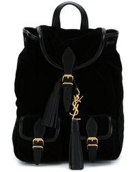 Saint Laurent - Black Velvet 'festival' Backpack - Lyst