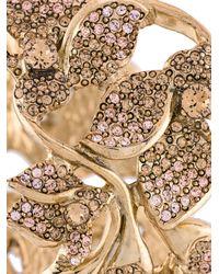 Oscar de la Renta - Metallic Embellished Flower Bracelet - Lyst