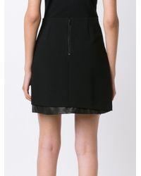 Alice + Olivia - Black Leather Panel Skirt - Lyst
