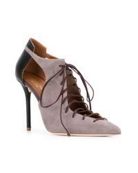 Malone Souliers - Gray Montana Lace-up Pumps - Lyst