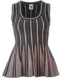 M Missoni | Black Striped Knitted Top | Lyst