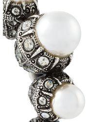 Lanvin | Metallic Pearl Hoop Earrings | Lyst
