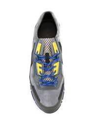 Lanvin - Gray Panelled Sneakers for Men - Lyst