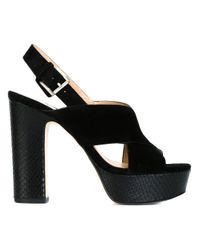 MICHAEL Michael Kors - Black Mariana Suede and Leather Platform Sandals - Lyst
