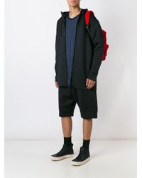 Y-3 - Black Hooded Long Jacket for Men - Lyst