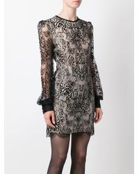 Alexander McQueen - Butterfly Lace Mini Dress On Black & Flesh - Lyst