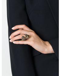 Alexander McQueen Metallic King & Queen Skull Ring