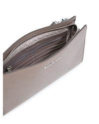 MICHAEL Michael Kors - Gray Zipped Flat Leather Cross-Body Bag - Lyst