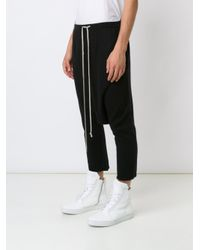 Rick Owens - Black Drop-crotch Cropped Trousers for Men - Lyst