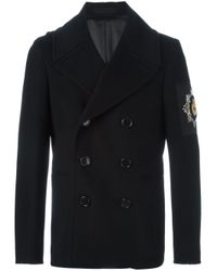 Alexander McQueen - Black Embroidered Patch Peacoat for Men - Lyst