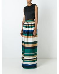 Rosetta Getty - Woman Pleated Striped Satin-twill Maxi Skirt Multicolor - Lyst