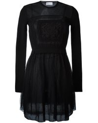 RED Valentino | Black Crochet Sheer Chest Dress | Lyst