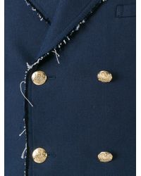 Alexander McQueen - Blue Double Breasted Jacket for Men - Lyst