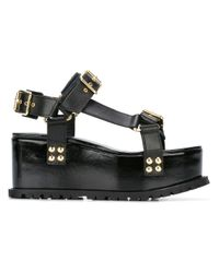 Sacai | Black Platform Buckled Sandals | Lyst