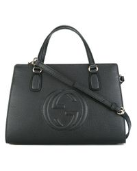 Gucci | Black - Embossed Gg Logo Tote Bag - Women - Leather - One Size | Lyst