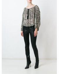 Roberto Cavalli - Black Leopard Print Blouse - Lyst
