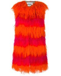 MSGM | Multicolor - Striped Sleeveless Fur Coat - Women - Viscose/lamb Fur - 40 | Lyst