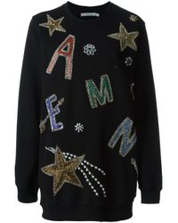 Amen - Black Beaded Embroidered Oversize Sweatshirt - Lyst