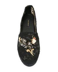 Dolce & Gabbana | Black Embellished Lace Espadrilles | Lyst