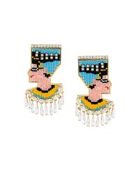 Shourouk - Blue E Vegas Crystal and Sequin Earrings - Lyst