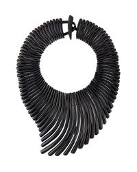 Monies | Black 'wave' Effect Necklace | Lyst