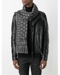 Alexander McQueen - Gray 'skull' Knit Scarf for Men - Lyst