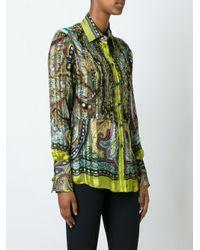 Etro - Green Ruffle Front Semi Sheer Shirt - Lyst